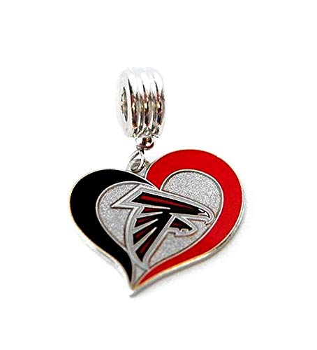 Heavens Jewelry Atlanta Falcons Football Team Heart Charm Slider Pendant for Your Necklace European Charm Bracelet (Fits Most Name Brands) DIY Projects ETC