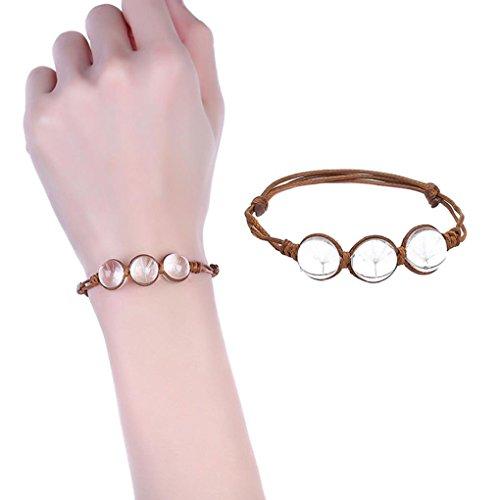 Fheaven 2018 New Women Girl's Rope Charm Bracelets Cherry Blossom Dandelion Flower Crystal Gem Friendship Accessories Wedding Jewelry (White)