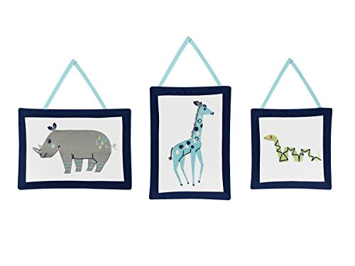 (Sweet Jojo Designs 3-Piece Turquoise and Navy Blue Safari Animal Wall Hanging Decor for Mod Jungle Collection)