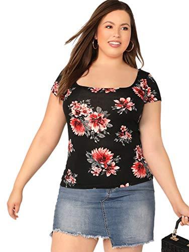 Romwe Women's Plus Size Floral Short Cap Sleeve Scoop Neck Slim Fit Crop Tee Top Black 2X ()