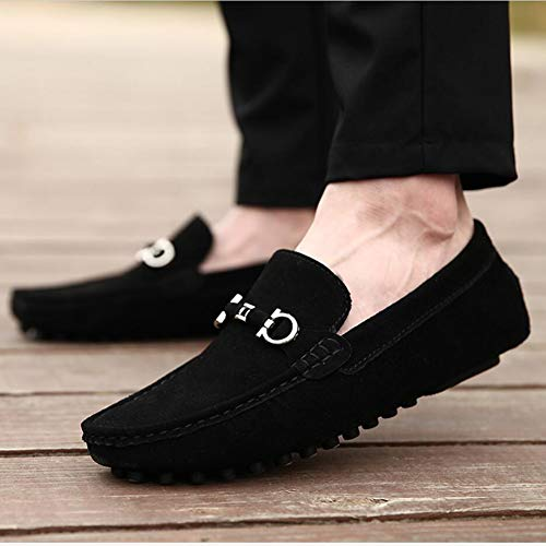 Zapatos Mocasines Primavera A De Otoño Mano Negro Zapatos Hecho Barco Holgazán Informal Hombre Conducción Cuero En Puntada Redondeado Resbalón Pisos zwRzEfrWq