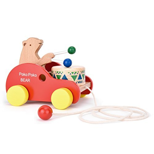 Wooden Pull Along Toy, Safe&Care Kids Creative Educational T