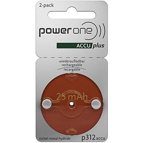 2 x Size p312 PowerOne ACCU Plus Rechargeable Hearing Aid Batteries ()