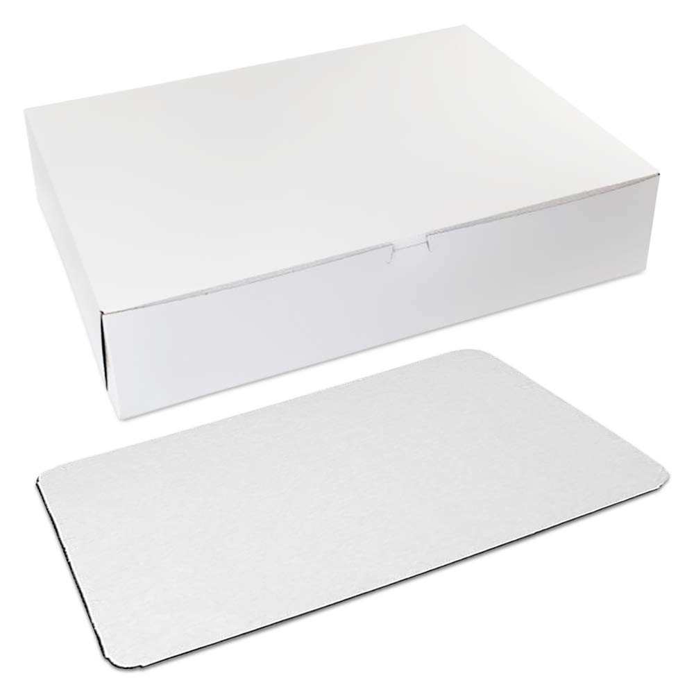 Cake Boxes 19x14x4 with cake boards, white (10 pack)