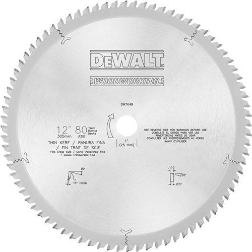 Disco Sierra DEWALT DW7649 80T Corte transversal fino 12i