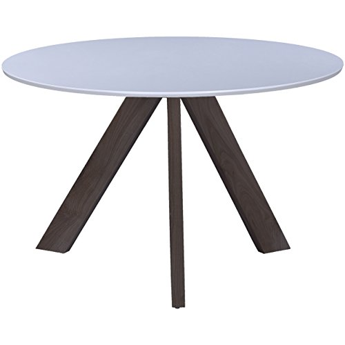 """2xhome – 47"""" Round Dining Table White Top With Dark Chocolate Wood Leg"""