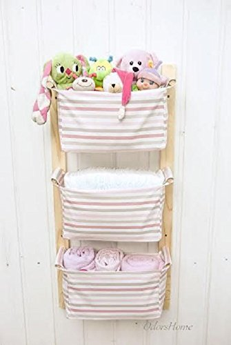 Nursery Storage Baskets - Kids Room Storage Nursery Bins - Diaper Caddy Wall Organizer - Change Table Storage Custom Organizer Baby Girl