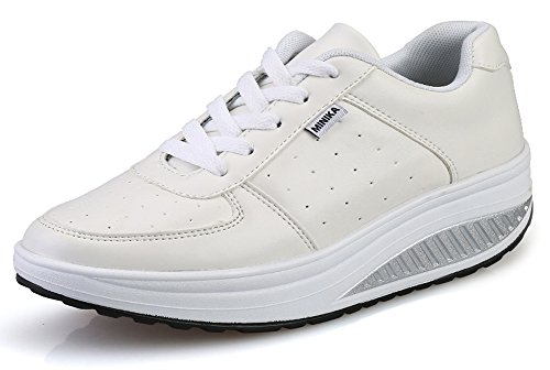 Ausom Women's Stylish Leather Platform Wedges Walking Fitness Work Out Sneaker Toning Shoes by Ausom
