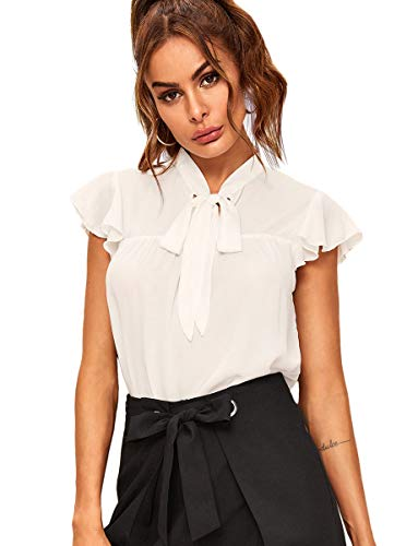 Romwe Women's Casual Short Sleeve Ruffle Bow Tie Blouse Top Shirts White L