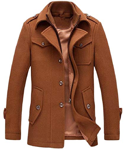 Breasted Stylish Peacoat 2 Wool Military security Blend Single Slim Men ZwY5AY