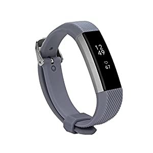 Newest Fitbit Alta HR and Alta Band With Metal Clasp, BeneStellar Silicone Replacement Band for Fitbit Alta HR and Alta (Classic) (Dark Gray 1 Pack)