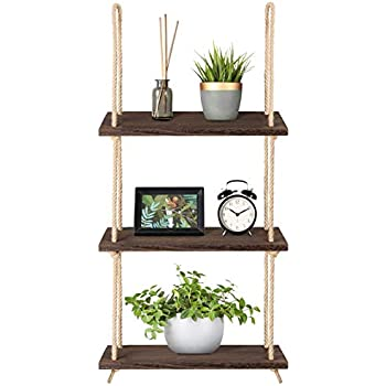 Mkono Wood Hanging Shelf Wall Swing Storage Shelves Jute Rope Organizer  Rack 66f72a573