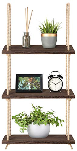 Mkono Wood Hanging Shelf Wall Swing Storage Shelves Jute Rope Organizer Rack, 3 Tier from Mkono