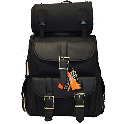 (MOTORCYCLE LARGE SISSY TRAVEL BAR PVC TOURING BAG W/2 BIG SIDE COMPARTMENT)
