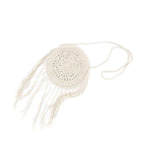 Bolsa de ratán bolsa de playa de cuerdas redondo bolsa al hombro diseño mujeres niña verano diseño de paja Bellota la mano playa viaje vacaciones ideal regalo para mujer niña Blanco