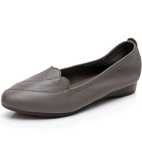 sole pregnant and Spring flat autumn ladies non Grey fashion work FLYRCX shoes shoes slip leather women soft casual shoes shoes waXqx5d