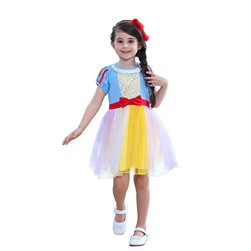 e-supao Snow White Dress No Cape, Disney Girl Princess Dress, Snow White Costume Toddler Dress, Girl Princess Skirt (120, Snow White)