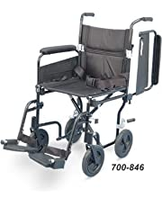 Airgo Comfort-Plus Transport Chair Wheelchair With swing-away removable footrests and flip-back detachable arms (17, Black)