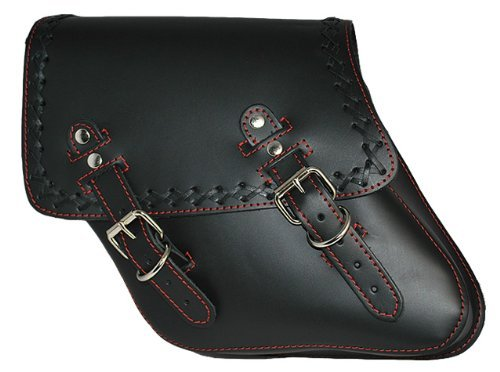 La Rosa Harley-Davidson Dyna Wide Glide FXR Black Leather Red Stitching Cross Lace Left Side Saddlebag