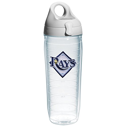 "Tervis 1066696 ""MLB Tampa Bay Rays"" Water Bottle with Grey Lid, Emblem, 24 oz, Clear"