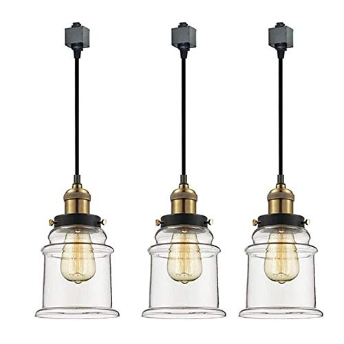 - Kiven 3-Light H System Track Lighting Pendants,Clear Glass Shade Fitting Track Light Kit, TB0213-50CM-Bulb Included
