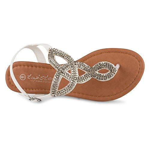 90e179a26 Twisted Women s Daisy Faux Leather T-Strap Sandal with Rhinestone Accents -  White