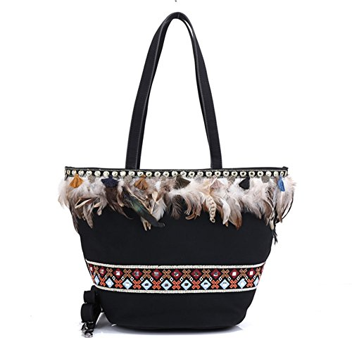 Shoulder Handbag Womens and Tote Bohemian Bag Black Purses SaqXqwpf