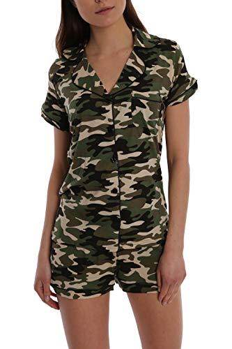 - Women's Printed Short Sleeve Button Down Sleep Shirt & Shorts PJ Set - Camo - Small