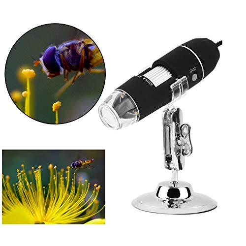 Portable USB Digital Microscope 50x to 1000x Magnification 8-LED Mini Microscope Endoscope Camera Magnifier with Stand Compatible with Mac Window 7 8 10 Android