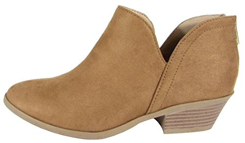 SODA Women's Almond Toe Faux Suede V Side Western Stacked Block Mid Heel Ankle Boot (Chamois, 7 B(M) US)