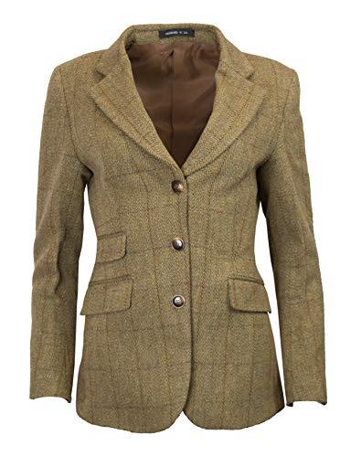 Women Wool Blazer - Walker & Hawkes - Ladies Classic Mayland Tweed Country Blazer Jacket - Light Sage - 8