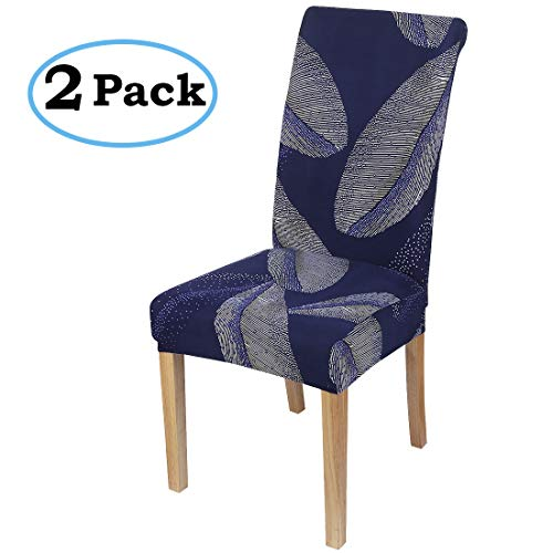 misaya Stretch Dining Room Chair Cover Spandex Removable Washable Feather Printing Chair Slipcover for Kitchen, Set of 2, Style 6
