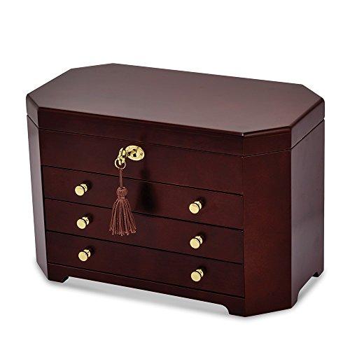 Saris and Things Matte Mahogany Veneer w/3 Drawers Jewelry Box