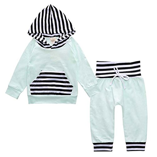 Kidlove Stripe Toddler Kids Baby Boy Girl Clothing Hooded Pocket Tops&Pants Set Blue 12-18 Month
