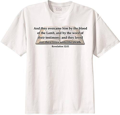 BibleShirts Revelation 12:11 Short Sleeve T-Shirt White (They Overcame By The Words Of Their Testimony)