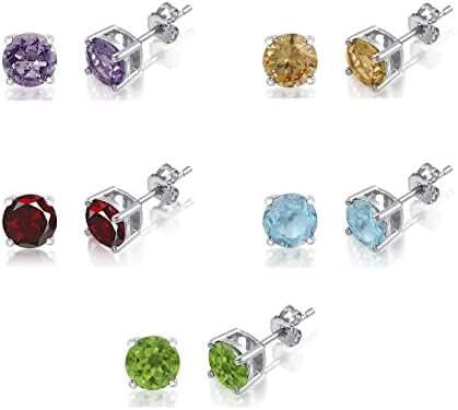 Set of 5 Sterling Silver Stud Genuine Gemstone Earrings - Amethyst Citrine Peridot Garnet and Blue Topaz