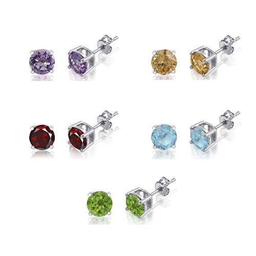 Set of 5 Sterling Silver 925 Basket Set 5mm Genuine Gemstone Earrings - Amethyst Citrine Peridot Garnet and Blue Topaz