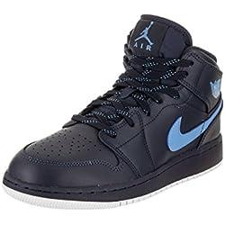 Jordan Nike Kids Air 1 Mid BG Obsidian/University/Blue/White Basketball Shoe 6 Kids US