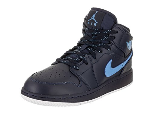 Jordan Nike Kids Air 1 Mid BG Obsidian/University/Blue/White Basketball Shoe 5.5 Kids US
