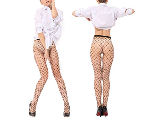 Ypser Trendy Sexy Argyle Fishnet Tights Seamless Nylon Large Mesh Stockings Cross Hollow Out Pantyhose (2-Packs Big (Stockings And Tights)