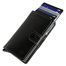 Card Blocr Best Front Pocket Wallets for Men | #1 RFID Blocking Secure Metal Credit Card Sleeve for Security and Protection | Genuine Leather Slim Minimalist Trifold RFID Wallet | 6 Excellent Colors