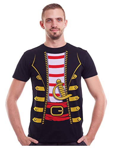 Pirate Buccaneer Halloween Easy Costume T-Shirt for Men Adult XX-Large Black -