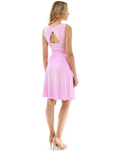 PattyBoutik Women Keyhole Back A-Line Dress (Pink and White 20 Large) ()