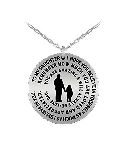 - Daughter Necklace From Dad - Silver Laser Engraved Personalized Pendant Charm From Father