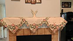 Fireplace Mantel Scarf Embroidered with Victorian Pink Roses Handmade, Size 84 inches wide from Doily Boutique