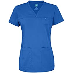 Adar Indulgence Womens Jr Fit Stitched Curved V-Scrub Top - 4210 - Royal Blue - XL