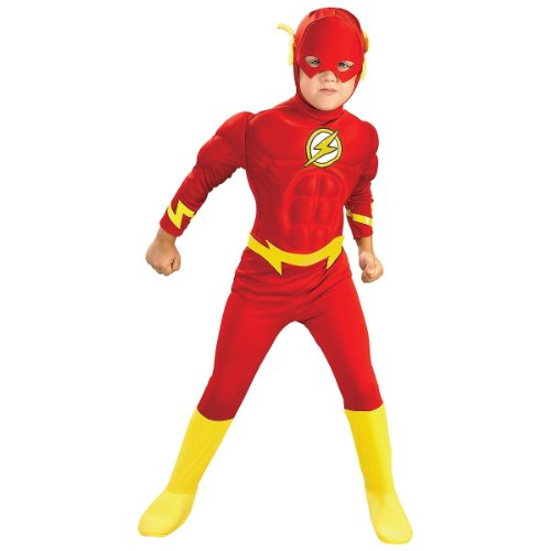DC Comics Deluxe Muscle Chest The Flash Costume, Small (Flash Muscle Costume)