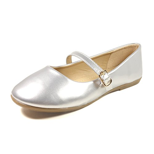 Nova Utopia Toddler Little Girls Dress Ballet Mary Jane Bow Flat Shoes,NF Utopia Girl NFGF060New Silver - Janes Shoes Bow Mary