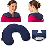 Microwavable Cotton Heating Pad Compress: Large Heat Therapy Pillow for Sore Neck & Shoulder Pain Relief - Personal, Reusable, Non Electric Thermal Deep Muscle Hot Pack or Cold Wrap - Navy Blue