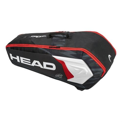 Head Djokovic Backpack - HEAD Djokovic 6R Combi Tennis Bag Black/White/Red